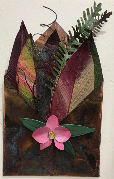 """Maui Montage: Ti Leaves With Orchid"" by Kari Von Wening - KVW37"