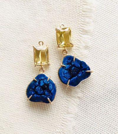Azurite Geode Earrings by Luchia McKinnon - LMK223
