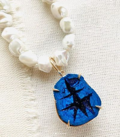 Azurite Geode Necklace by Luchia McKinnon - LMK222