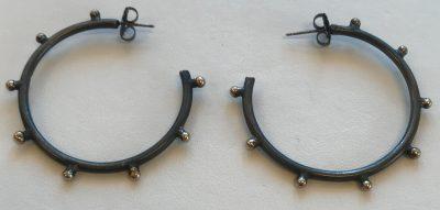 Black Hoop Earrings by Pamela Street - PKS570