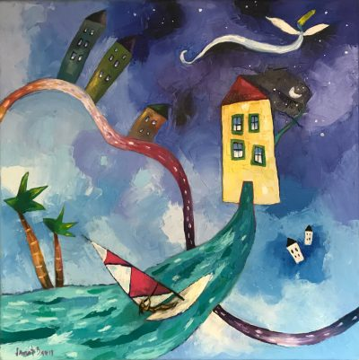 """Dancing Houses With Windsurfer"" by Janet Davis - JCD114"