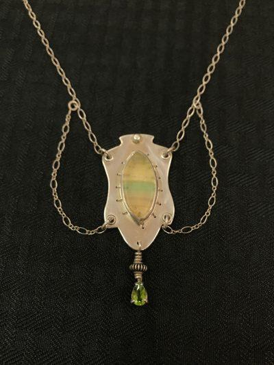 Fluorite With Peridot Drop Necklace by Stone O'Daugherty - SOJ526