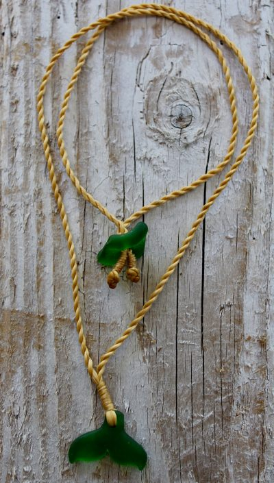 Green Sea Glass Whale Tail Necklace by Sam Grim - SAM850