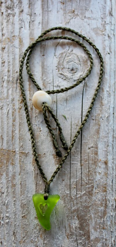 Lime Green Sea Glass Cutout Heart Necklace by Sam Grim - SAM853