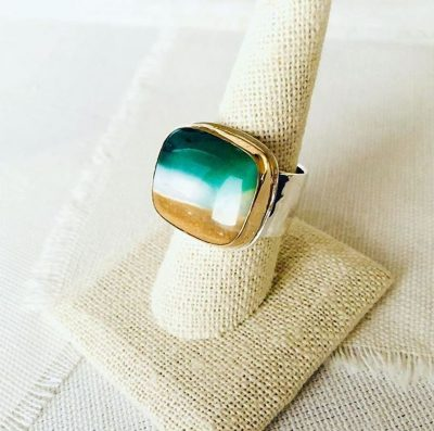 Petrified Blue Opalized Wood Ring by Luchia McKinnon - LMK232