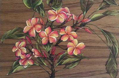"""Fuschia And Orange Plumeria"" by Christine Halton - CH563"