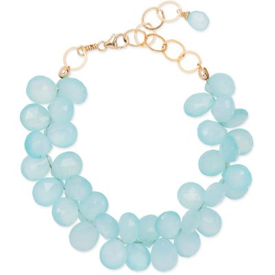 Aqua-Chalcedony Cluster Bracelet. Part of the Maui Collection by Amata Jewelry. 14K gold-filled chain and findings. Handcrafted in Hawai'i.