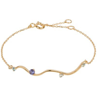 Blue Topaz and Iolite Wave Bracelet in gold vermeil. Part of the Maui Collection by Amata Jewelry. Handcrafted in Hawai'i.