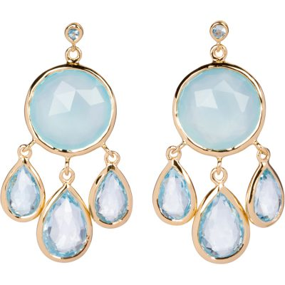 Aqua-Chalcedony and Blue Topaz Earrings in gold vermeil - Amata Jewelry by Ladini - Handcrafted in Hawai'i
