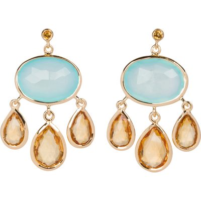 Aqua-Chalcedony and Citrine Earrings in gold vermeil - Amata Jewelry by Ladini - Handcrafted in Hawai'i