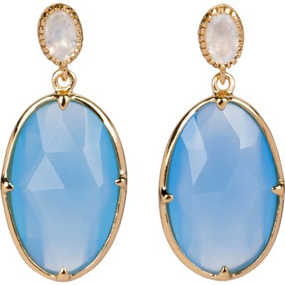Blue Aqua-Chalcedony and Moonstone Earrings in gold vermeil - Amata Jewelry by Ladini - Handcrafted in Hawai'i