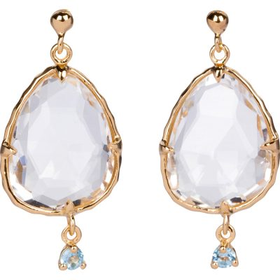 Crystal and Blue Topaz Earrings in gold vermeil - Amata Jewelry by Ladini - Handcrafted in Hawai'i