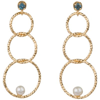 Blue Topaz and Pearl Circle Earrings in gold vermeil - Amata Jewelry by Ladini - Handcrafted in Hawai'i.