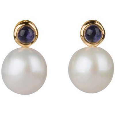 Pearl and Iolite Earrings in gold vermeil - Amata Jewelry by Ladini - Handcrafted in Hawai'i