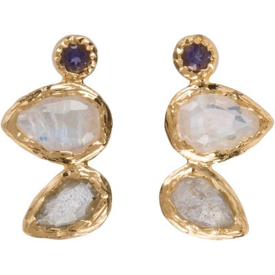 Moonstone, Labradorite, and Iolite Earrings in gold vermeil - Amata Jewelry by Ladini - Handcrafted in Hawai'i