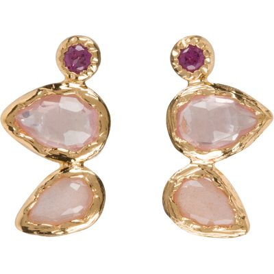 Rose Quartz, Garnet, and Peach Moonstone Earrings in gold vermeil - Amata Jewelry by Ladini - Handcrafted in Hawai'i
