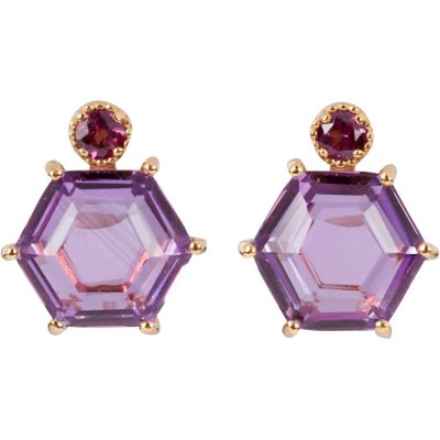 Amethyst and Garnet Earrings in gold vermeil - Amata Jewelry by Ladini - Handcrafted in Hawai'i