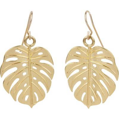 Monstera Earrings with 14K gold-filled French hooks - Amata Jewelry by Ladini - Handcrafted in Hawai'i