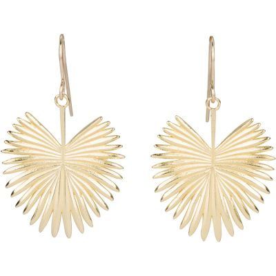 Fan Palm Earrings with14K gold-filled French hooks - Amata Jewelry by Ladini - Handcrafted in Hawai'i