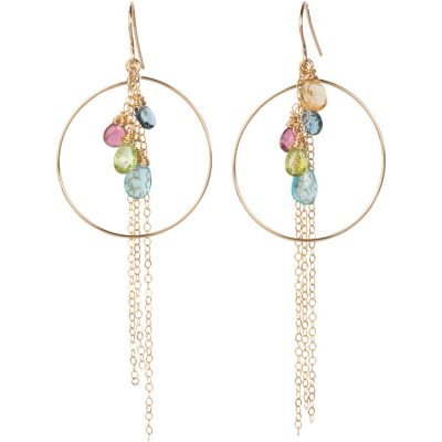 Anuenue (Rainbow) Circle Earrings, 14K gold-filled circles and French hooks - Amata Jewelry by Ladini - Handcrafted in Hawai'i