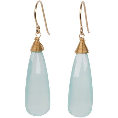 Aqua-Chalcedony Drop Earrings. Part of the Maui Collection by Amata Jewelry. 14K gold-filled French hooks. Handcrafted in Hawai'i.