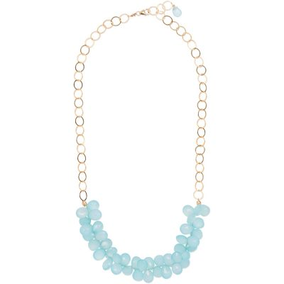 Aqua-Chalcedony Cluster Necklace. Part of the Maui Collection by Amata Jewelry. 14K gold-filled chain and findings. Handcrafted in Hawai'i.