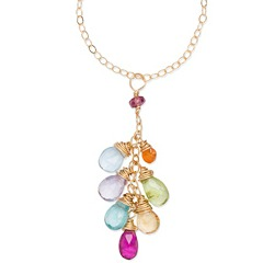 """Anuenue (Rainbow) Waterfall Necklace, 14K gold-filled chain, 18"""" length - Amata Jewelry by Ladini - Handcrafted in Hawai'i"""