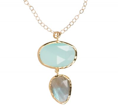 Aqua and Labradorite Necklace in gold vermeil - Amata Jewelry by Ladini - Handcrafted in Hawai'i.