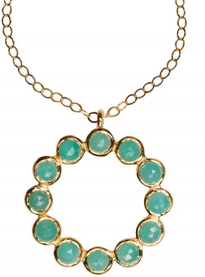 Amazonite Circle Necklace in gold vermeil - Amata Jewelry by Ladini - Handcrafted in Hawai'i.