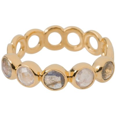Moonstone and Labradorite Haku Lei Ring in gold vermeil - Amata Jewelry by Ladini - Handcrafted in Hawai'i