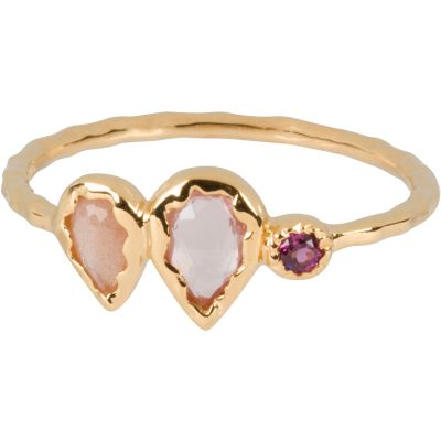 Rose-Cut Rose Quartz, Moonstone, and Garnet Ring in gold vermeil - Amata Jewelry by Ladini - Handcrafted in Hawai'i