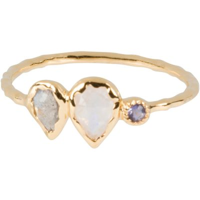 Rose-Cut Labradorite, Moonstone, and Iolite Ring in gold vermeil - Amata Jewelry by Ladini - Handcrafted in Hawai'i