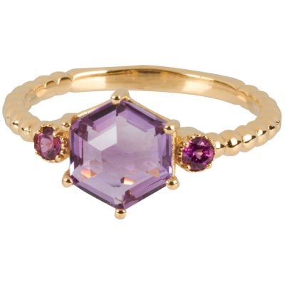 Rose-Cut Amethyst with Garnet Ring in gold vermeil - Amata Jewelry by Ladini - Handcrafted in Hawai'i