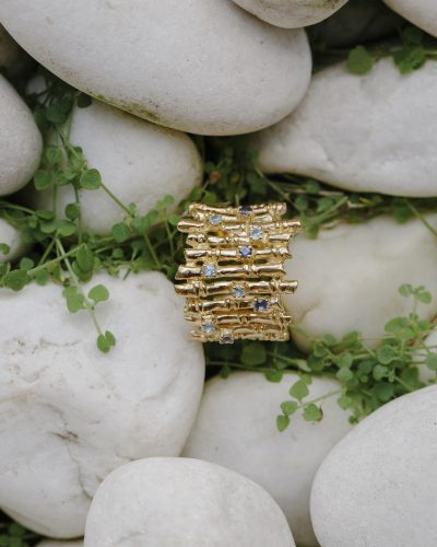 Bamboo Ring with Topaz and Iolite in gold vermeil - Amata Jewelry by Ladini - Handcrafted in Hawai'i