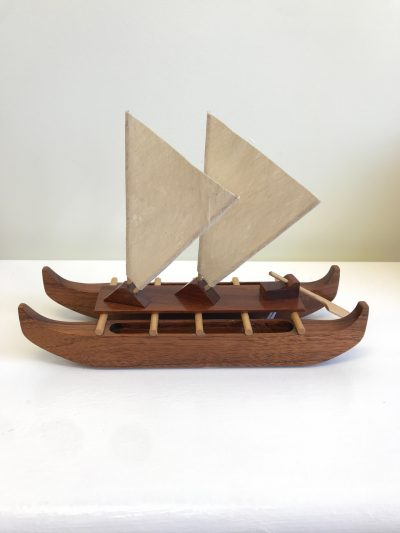 Double-Hull Koa Canoe Sculpture by Dan Craig - Koa Wood with Tapa Cloth Sails - Handcrafted in Hawai'i