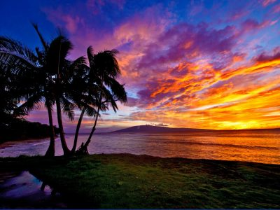 "A sunset in Mala, Maui, Hawai'i, is filled with vivid colors in this photo titled ""Mala Sunset"" by Marty Wolff."