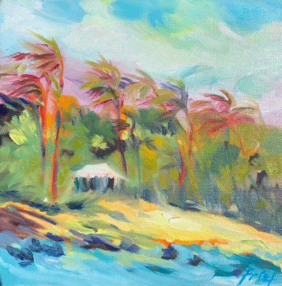 Amidst the Maui jungle, a massage tent peeks out. Original oil painting on canvas by Ellen Friel.