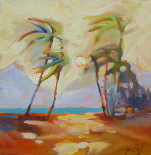 Dreamy palm trees sway in the breeze along the Maui shore. Original oil painting on board by Ellen Friel.