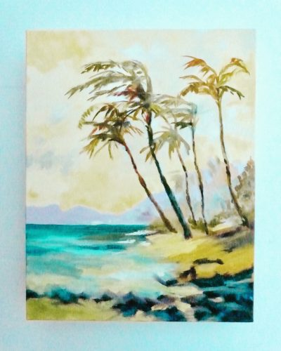 Dreamy palm trees sway in the breeze along the Maui shore. Original oil painting on canvas by Ellen Friel.