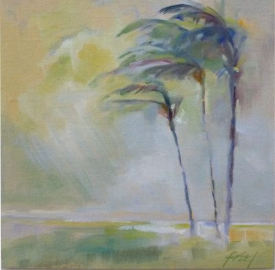 Dreamy palm trees sway in the breeze along the Maui shore. Original oil painting on board by Ellen Friel.