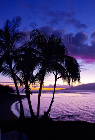 "A purple sunset appears in Maui, Hawai'i, in this photo titled ""Purple Reign"" by Marty Wolff."