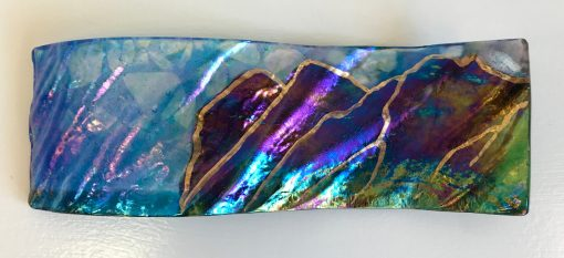 Hawai'i Rainbow Landscape Sculpture by Marian Fieldson. Lava flow-molded glass art with 22K gold accents handmade on Hawai'i.