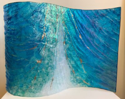 Hawai'i Seascape Wave Sculpture by Marian Fieldson. Lava flow-molded glass art with 22K gold accents handmade on Hawai'i.