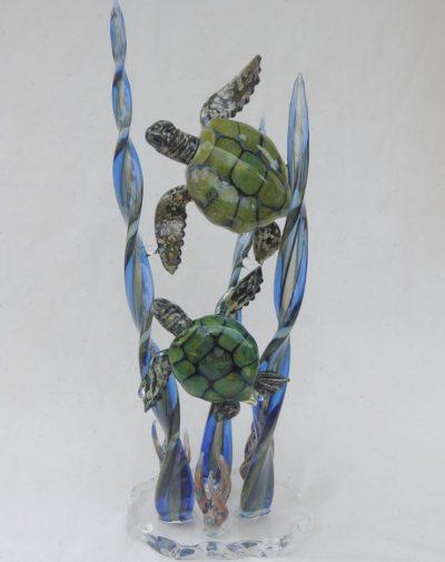Handblown Glass Honu Pair Sculpture by Chris Upp - Example
