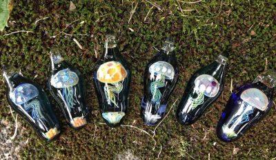 Assorted Handblown Glass Jellyfish Pendants by Chris Upp - Examples