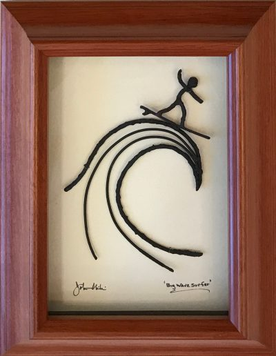 """Big Wave Surfer"" Bronze/Pewter Framed Shadowbox Sculpture by John Ilnicki"