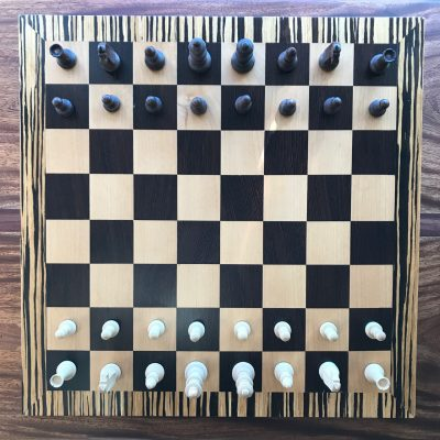 Chess Board in Zebra/Wenge/Maple by Tyler Jellum - Chess Pieces Sold Separately