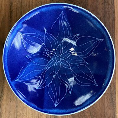 "9"" Sgraffito Bowl by Curt Stevens - Blue Lotus Example - CUR135B"