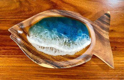 Fish Resin Ocean Wooden Bowl by Leilani Kepler - Example - LKK18