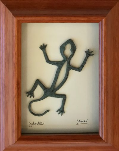"""Green Gecko"" Bronze/Pewter Framed Shadowbox Sculpture by John Ilnicki"
